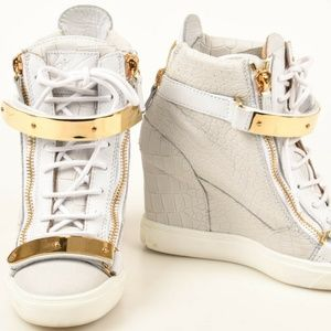 White High-top Alligator Printed Leather Sneakers